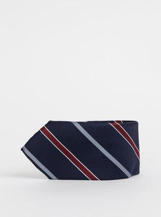 Tmavě modrá pruhovaná kravata Jack & Jones Brandon