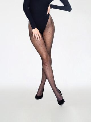Černé puntíkované punčochové kalhoty Andrea Bucci