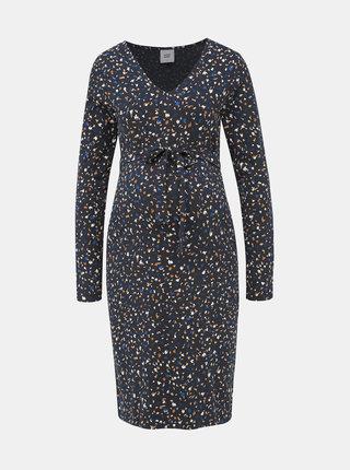 Tmavomodré vzorované tehotenské šaty Mama.licious Jenn