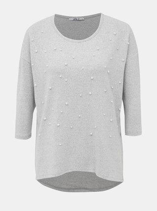 Světle šedý dámský svetr s korálky Haily´s Fiona