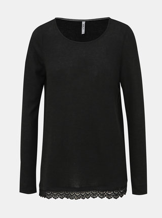 Černý dámský lehký svetr s krajkou Haily´s Diana
