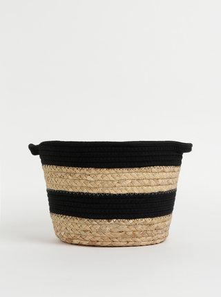 Černo-béžový dekorativní koš Sass & Belle
