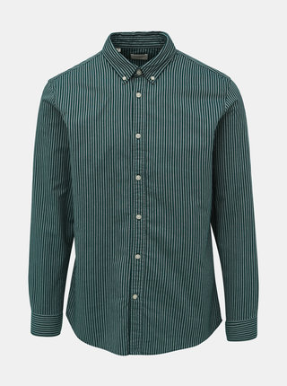 Tmavě zelená pruhovaná slim fit košile Selected Homme Slimox