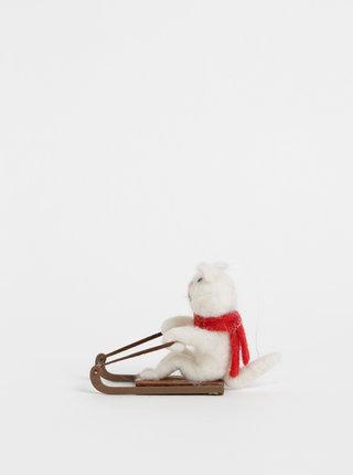 Krémová dekorace s příměsí vlny ve tvaru kočky na saních Sass & Belle