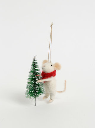 Biela závesná vianočná dekorácia v tvare myši so stromčekom Sass & Belle