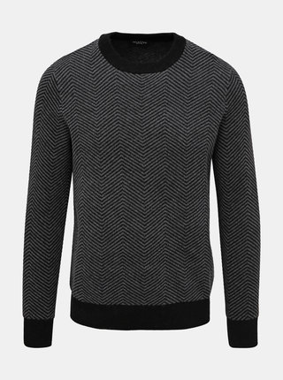 Šedý vzorovaný vlněný svetr Selected Homme Herring