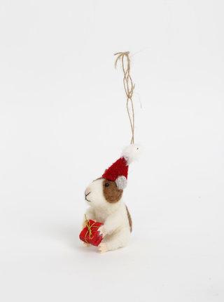 Biela závesná vianočná vlnená dekorácia v tvare škrečka Sass & Belle