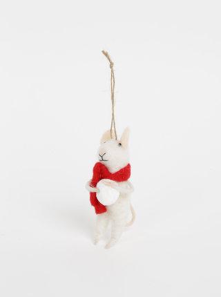 Biela vianočná závesná vlnená dekorácia v tvare myši Sass & Belle