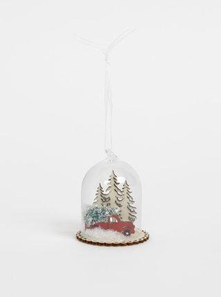 Sklenená závesná vianočná dekorácia Sass & Belle