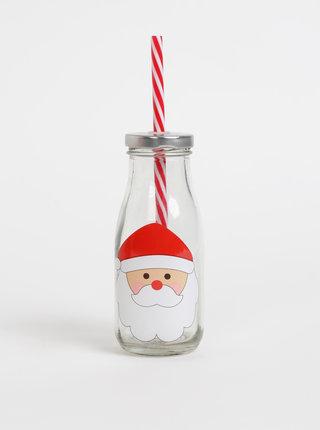 Skleněná lahev s brčkem a vánočním potiskem Sass & Belle 225 ml