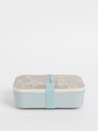 Světle modrý vzorovaný box na jídlo Sass & Belle