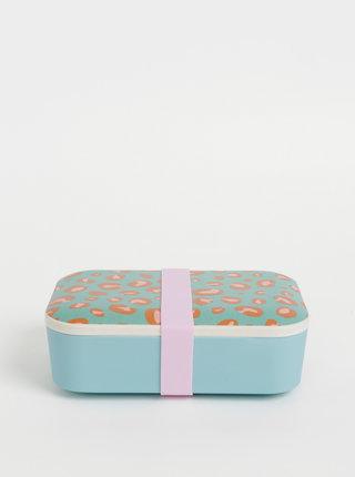 Světle modrý box na jídlo s leopardím vzorem Sass & Belle