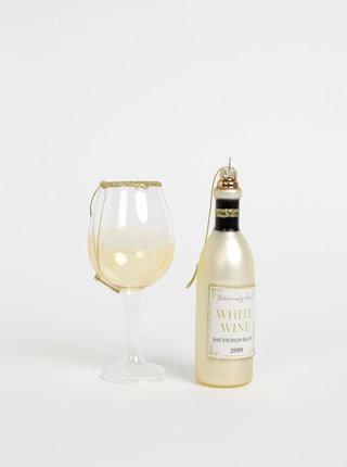Sada dvou béžových ozdob na stromeček ve tvaru skleničky a láhve Sass & Belle