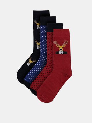 Sada štyroch párov ponožiek s vianočným motívom v červenej a modrej farbe Selected Homme William