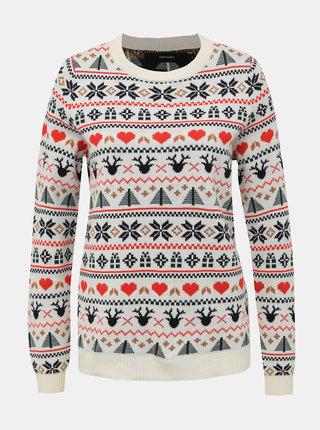 Krémový sveter s vianočným motívom VERO MODA Heart