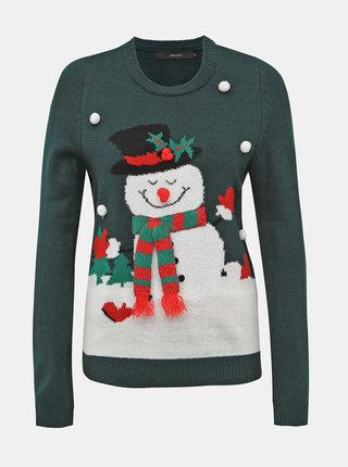 Tmavozelený sveter s vianočným motívom VERO MODA Snowman