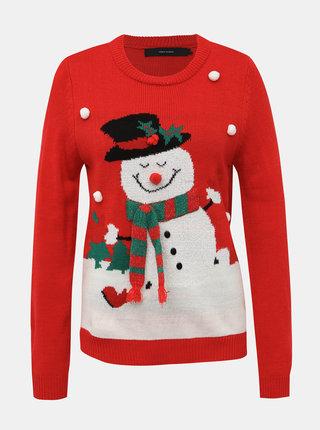 Červený sveter s vianočným motívom VERO MODA Snowman
