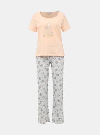 Šedo-růžové dvoudílné pyžamo Dorothy Perkins