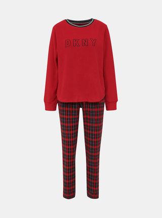 Červené fleecové dvoudílné pyžamo DKNY