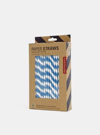 Sada bílo-modrých papírových brček Kikkerland
