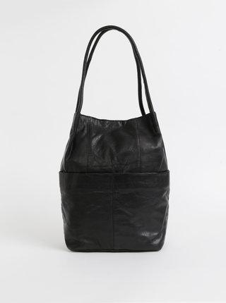 Čierna kožená kabelka Pieces Jessy