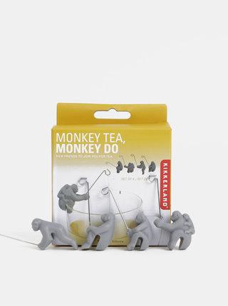Sada čtyř držáků na čajové sáčky ve tvaru opic Kikkerland