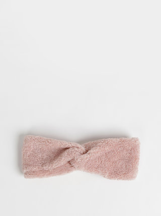 Růžová čelenka z umělého kožíšku ONLY Teddy