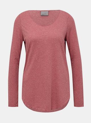 Růžové basic tričko s příměsí lnu VERO MODA Lua