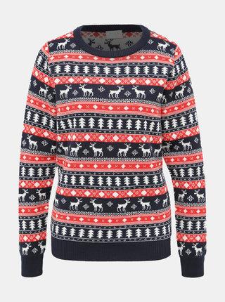 Červeno-modrý svetr s vánočním vzorem VILA Wall