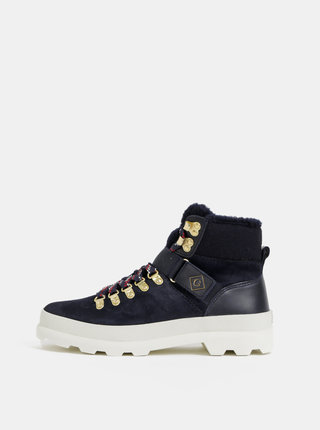 Tmavomodré dámske semišové členkové zimné topánky GANT Westport