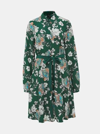 Zelené kvetované košeľové šaty VERO MODA Maise