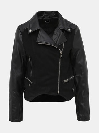 Čierna koženková bunda s detailmi v semišovej úprave VILA Mace