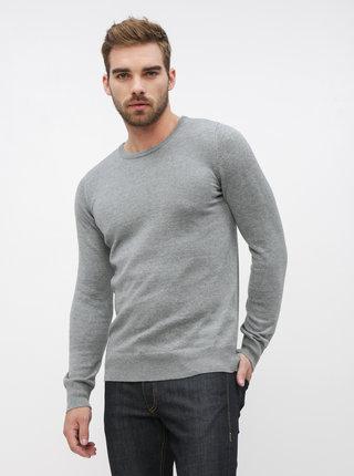 Šedý pánsky basic sveter ZOOT