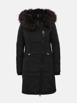 Černý zimní prošívaný kabát s všitým límcem ONLY
