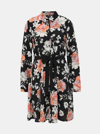 Černé květované košilové šaty VERO MODA Maise