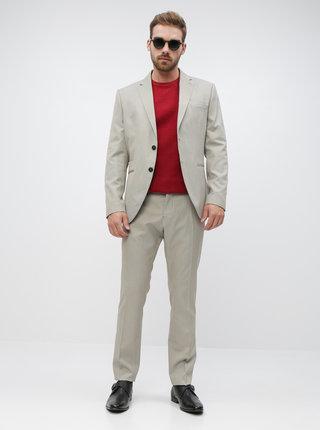 Béžové oblekové slim fit nohavice Selected Homme Maze Saint