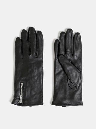 Černé kožené rukavice VERO MODA Finna