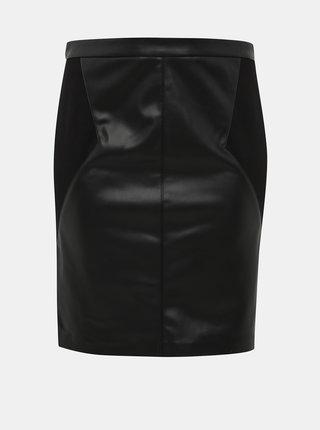 Čierna koženková sukňa ONLY CARMAKOMA Bea