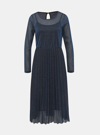 Modré třpytivé šaty s plisovanou sukní ONLY Daniella