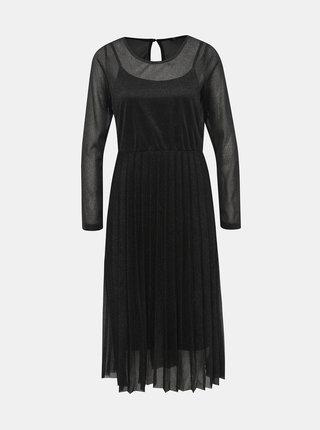 Čierne metalické šaty s plisovanou sukňou ONLY Daniella