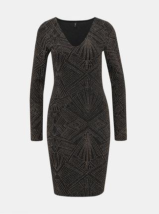 Vzorované púzdrové šaty v zlato-čiernej farbe ONLY Shine