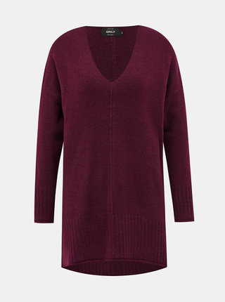 Vínový prodloužený svetr ONLY Clean