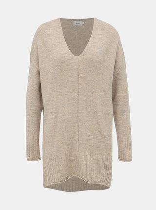 Béžový predĺžený sveter ONLY Clean