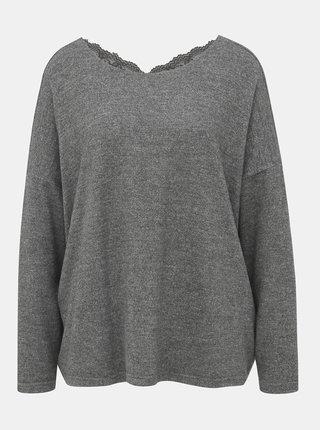 Šedý ľahký sveter s krajkovým detailom ONLY Kleo
