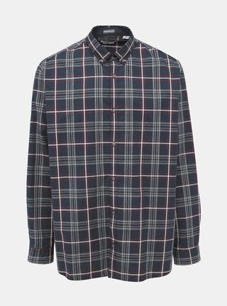 Tmavomodrá kockovaná slim fit košeľa Jack & Jones Focus