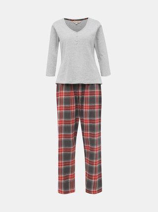 Šedo-červené kockované dvojdielne pyžamo Dorothy Perkins