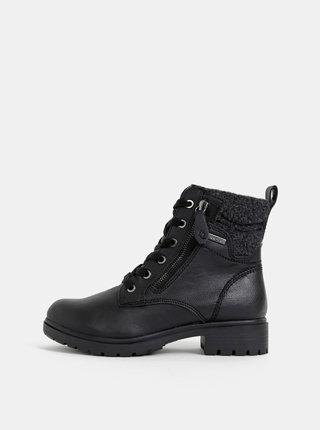 Černé kotníkové zimní boty Tamaris