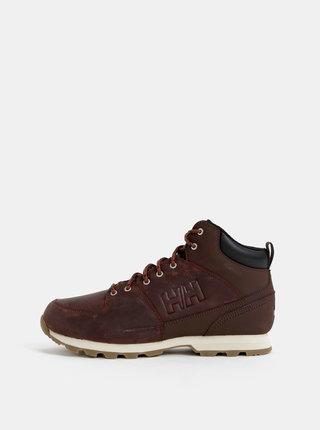 Tmavě hnědé pánské kožené kotníkové boty HELLY HANSEN Tsuga