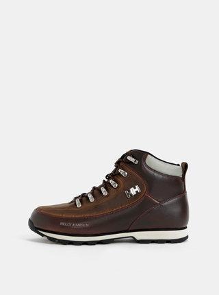 Tmavě hnědé pánské kožené nepromokavé kotníkové boty HELLY HANSEN The Forester