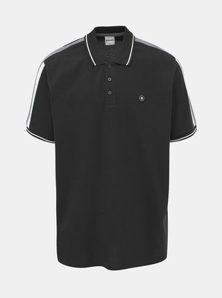 Černé polo tričko s lampasem Jack & Jones Block
